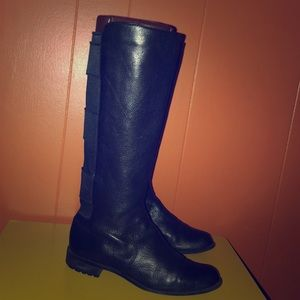 Calvin Klein Black Leather Knee High Boots 7.5 M
